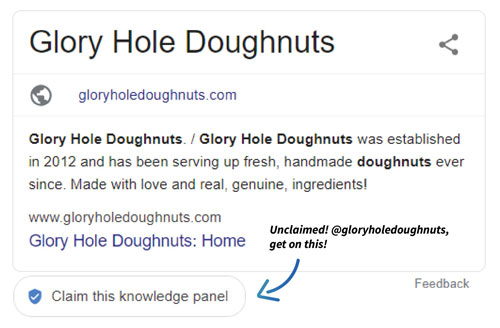 glory hole donuts unclaimed google my business listing